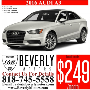 Glendale Auto Leasing and Sales,New Car Lease in Glendale burbank los angeles pasadena beverly hills west hollywood - 2016 Audi A3 249x36 7.5k Lease Special