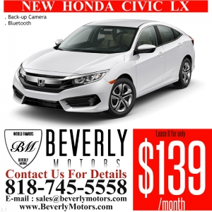 Glendale Auto Leasing and Sales,New Car Lease in Glendale burbank los angeles pasadena beverly hills west hollywood - NEW Honda Civic Lease Special