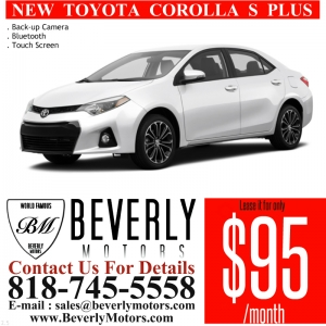 Glendale Auto Leasing and Sales,New Car Lease in Glendale burbank los angeles pasadena beverly hills west hollywood - NEW Toyota Corolla S Plus $95 x 24 Lease Special