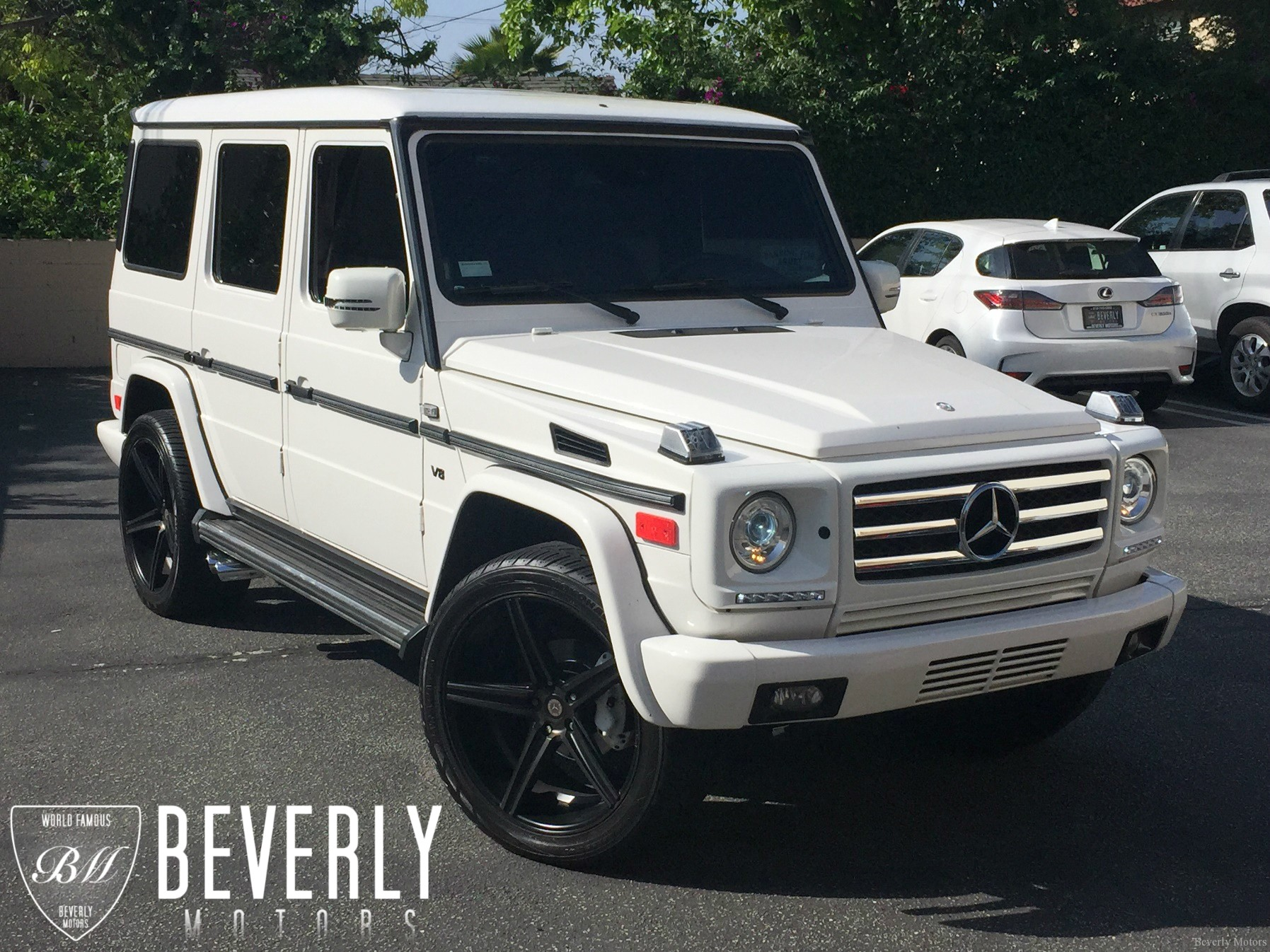 2002 mercedes benz g500 for sale white on black beverly. Black Bedroom Furniture Sets. Home Design Ideas